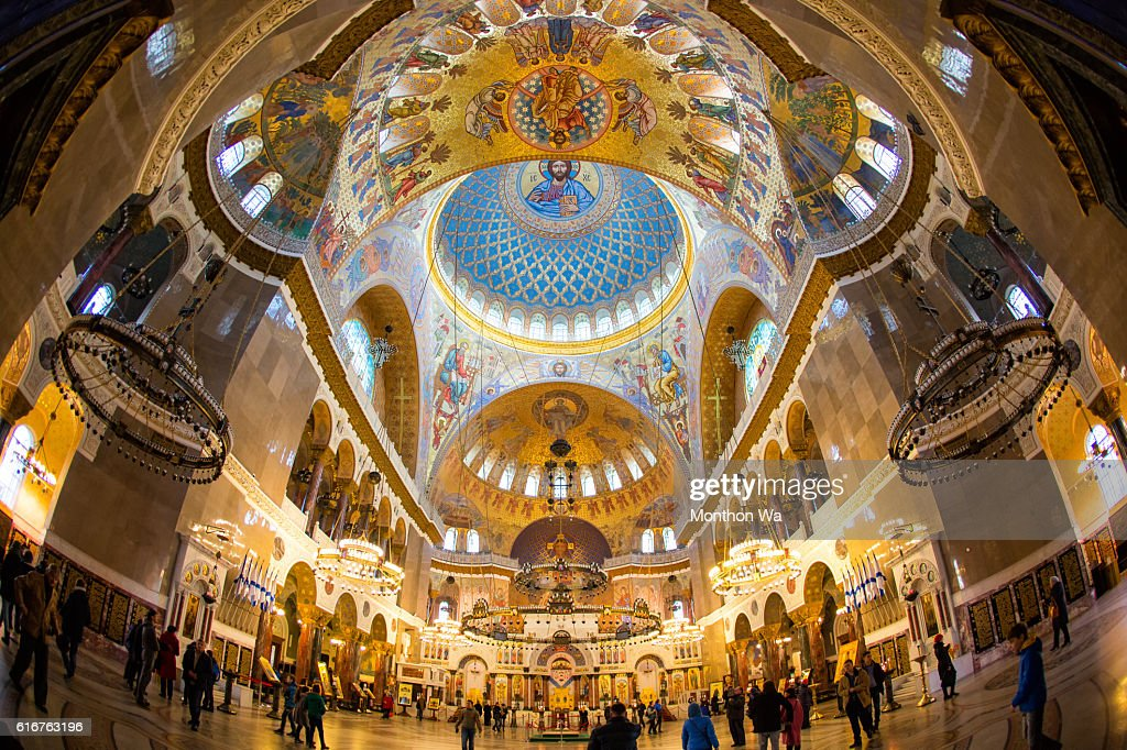 Inside the Naval Cathedral of Saint Nicholas in Kronstadt : Stock Photo