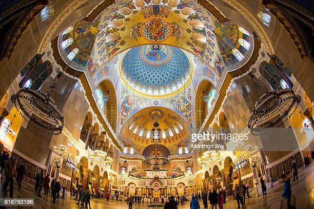 inside the naval cathedral of saint nicholas in kronstadt - st. nicholas stock photos and pictures