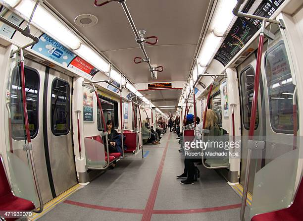 Inside the new Bombardier TTC or Toronto Transit Commission subways cars use of trains for public transportation in large cities wide angle view