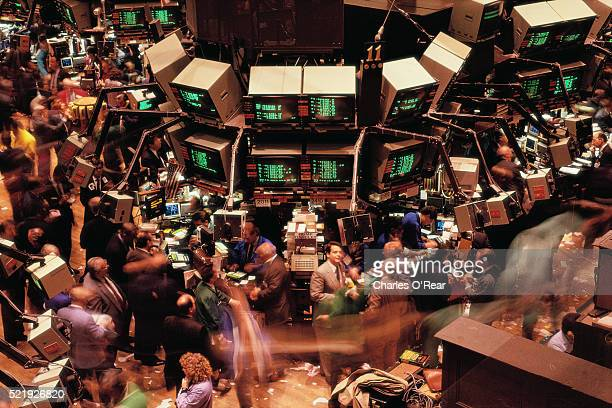 inside the new york stock exchange - new york stock exchange stock pictures, royalty-free photos & images