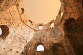 Inside the octagonal drum of the Baptistery, St Simeons, Syria.