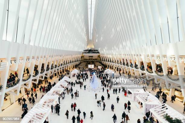 inside the oculus, world trade center transportation hub, new york - one world trade center stock pictures, royalty-free photos & images