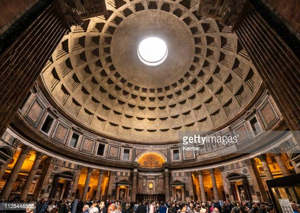 inside the pantheon in rome - pantheon rome stock photos and pictures