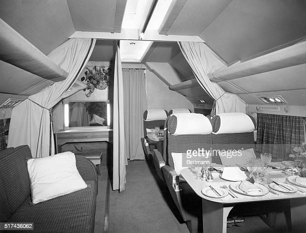 Inside the Queen's planePictures released today show the interior of the BOAC DC7C in which the Queen and Duke of Edinburgh will fly to Ottawa...