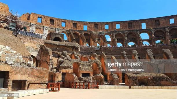 inside the roman colosseum - inside the roman colosseum stock photos and pictures