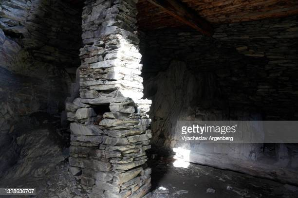 inside the shatili stone tower, georgia - argenberg stock pictures, royalty-free photos & images