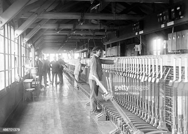 Inside the signal box in a Paris train station in May 1929 in Paris France