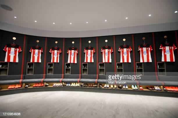 Inside the Southampton FC dressing room ahead of the Premier League match between Southampton FC and Newcastle United at St Mary's Stadium on March...