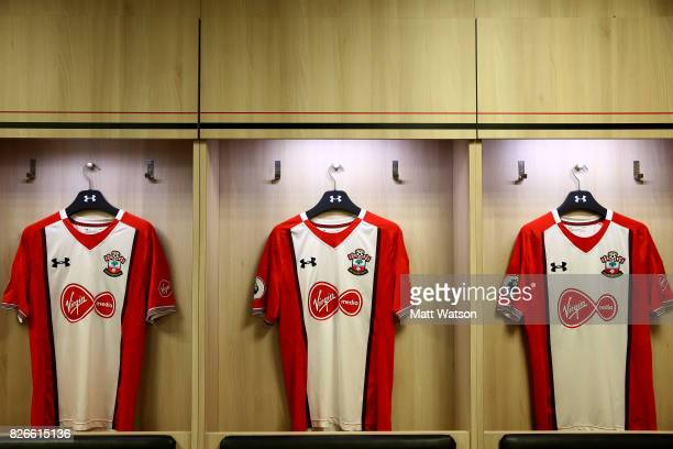 Inside the Southampton FC dressing room prior to the preseason friendly between Southampton FC and Sevilla at St Mary's Stadium on August 5 2017 in...