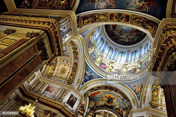 inside the st. isaac's cathedral - st. petersburg russia stock photos and pictures