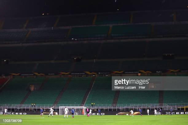 Inside the stadium during the UEFA Europa League round of 32 second leg match between FC Internazionale and PFC Ludogorets Razgrad at Giuseppe Meazza...