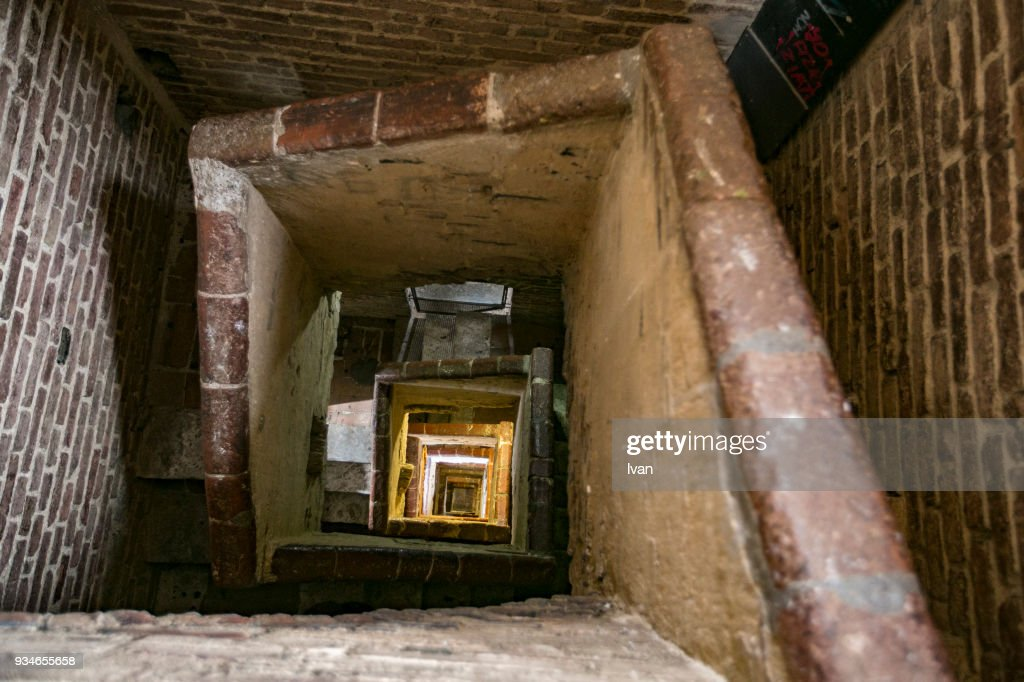 Inside the Stairs of Palazzo Pubblico Tower : Stock Photo