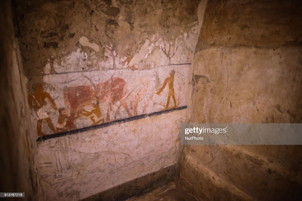 inside the tomb of an Old Kingdom priestess on the Giza plateau on the southern outskirts of Cairo, Egypt, 03 February 2018. An Egyptian archaeological mission led by the Secretary General of the Supreme Council of Antiquities, has discovered an Old Kingdom tomb of a lady called 'Hetpet' who was a top official in the royal palace during the end of the fifth Dynasty. The tomb was found during excavation work carried out in the Giza western cemetery, which houses tombs of the Old Kingdoms top officials discovered by previous archaeological missions since 1842.