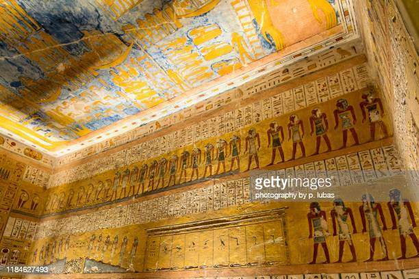 inside the tombs of the pharaohs - valley of the kings, egypt - egyptian artifacts stock pictures, royalty-free photos & images