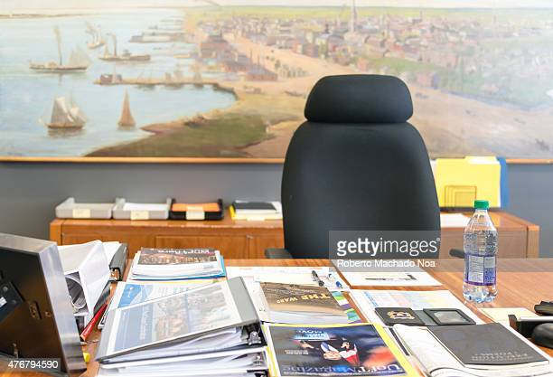 Inside the Toronto Mayor's Office during John Tory government the working desk with publications and electronic devices