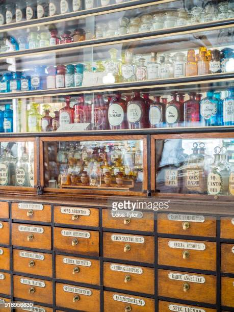 Inside the 'Under the Black Eagle' Pharmacy Museum in Lviv in Ukraine The pharmacy which opened in 1735 by military pharmacist Wilhelm Natorp is now...