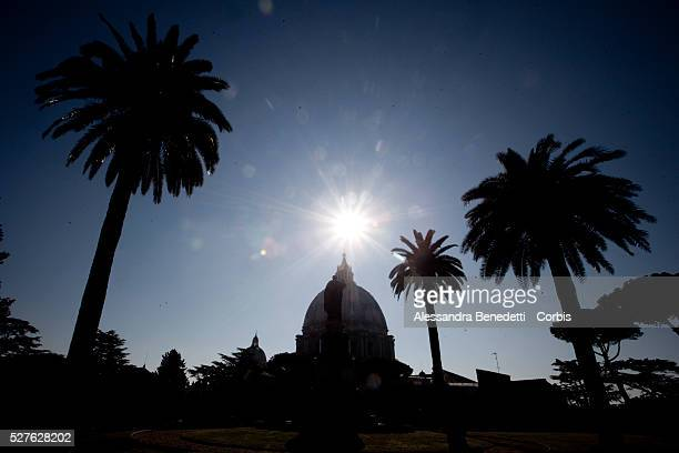Inside the Vatican Gardens where The Mater Ecclesiae Monastery is locatednext to Tower of San Giovanni where Pope Benedict XVI is expected to retire...