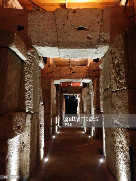 inside tunnel of coliseum rome - inside the roman colosseum stock photos and pictures