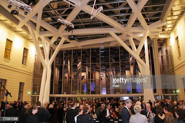 Inside view at the opening of the new glass-covered courtyard at the Jewish Museum September 25, 2007 in Berlin, Germany. Libeskind designed both the...
