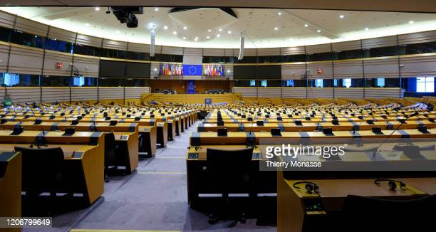 Inside view from European Parliament Building during the 201920 coronavirus pandemic is seen on March 11, 2020 in Brussels, Belgium. More than 100...