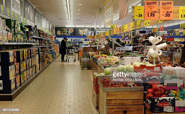 A inside view of a Lidl supermarket discount store in Essen western Germany on January 14 2015 German Aldi and Lidl will start 'smart discount' AFP...