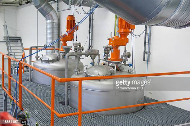 inside view of a modern chemical plant - gas tank stock photos and pictures