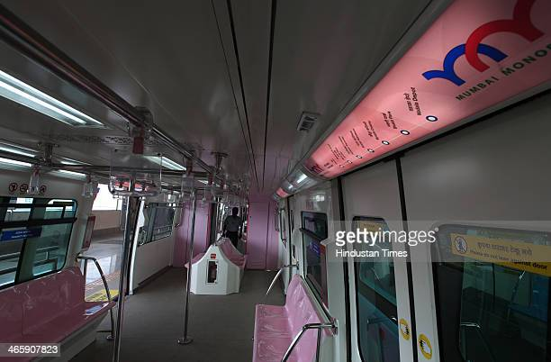 Inside view of Monorail during its trial run on January 30 2013 in Mumbai India The country's first Monorail service will be inaugurated on February...