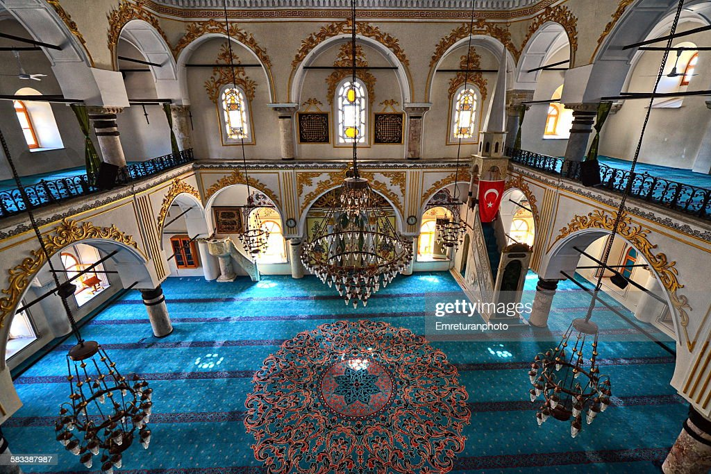 Inside view of Sadirvanalti mosque in Kemeralti : Stock Photo