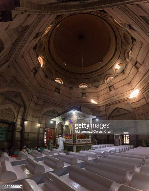 inside view of shrine of shah rukn-e-alam, multan, pakistan - shah alam stock photos and pictures