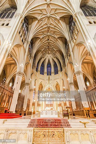inside view of st. patrick's cathedral, new york. - st. patricks cathedral manhattan stock photos and pictures