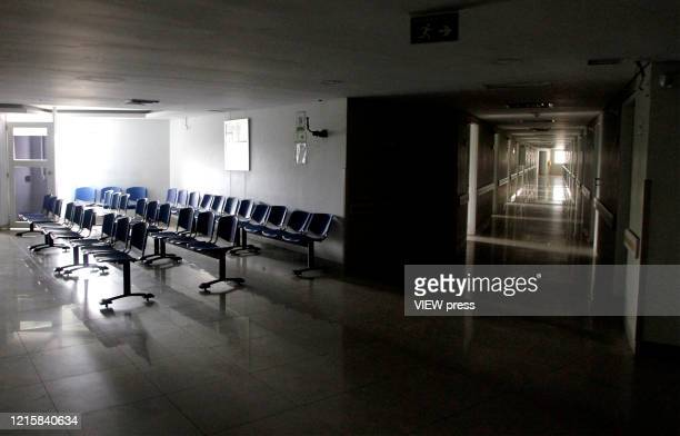 Inside View of the abandoned hospital of Saludcoop in Medellín Colombia on March 29 2020 The cleaning and adaptation works began to enable an...