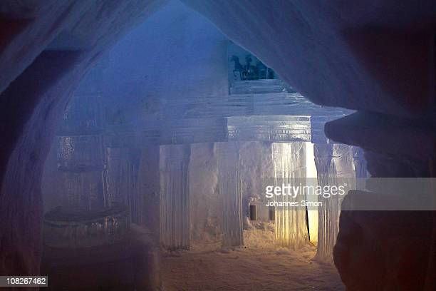 Inside view of the Alpeniglu restaurant building at Hochbrixen photo taken on January 23 2011 in Brixen im Thale Austria The hotel is built...