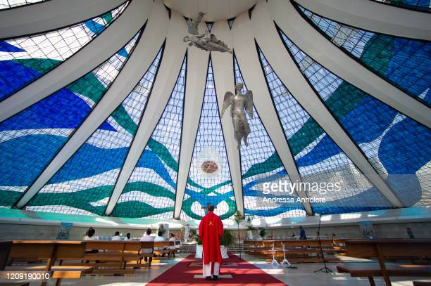 Inside view of the Brasilia Cathedral before the start of the Palm Sunday during the coronavirus pandemic on April 5 2020 in Brasilia Brazil The...