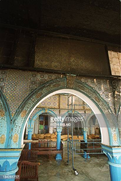 Inside view of the Djerba synagogue South Western Tunisia taken 12 April 2002 after a fuel tanker crashed outside the building 11 April killing seven...