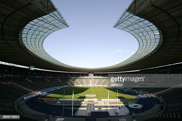 Inside view of the empty Olympia Stadion Olympic Arena in Berlin Germany It famously hosted events like the 1936 Summer Olympics the 2006 FIFA World...
