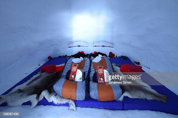 Inside view of the 'honeymoon' sleeping village of the Alpeniglu Hotel at Hochbrixen on January 23 2011 in Brixen im Thale Austria The hotel is built...