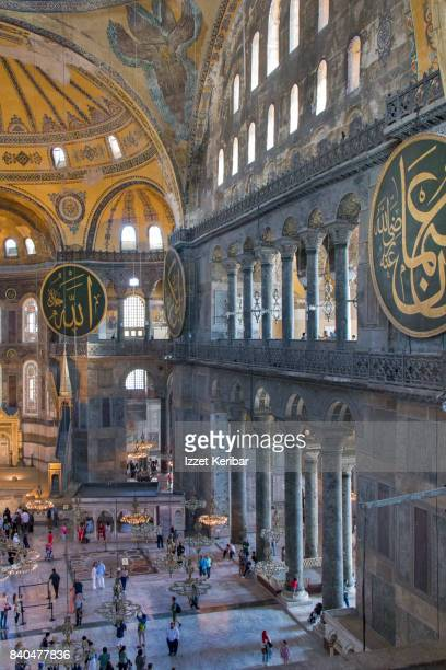 Inside view of the interior of  Hagia Sophia from the Empress balcony, Istanbul Turkey