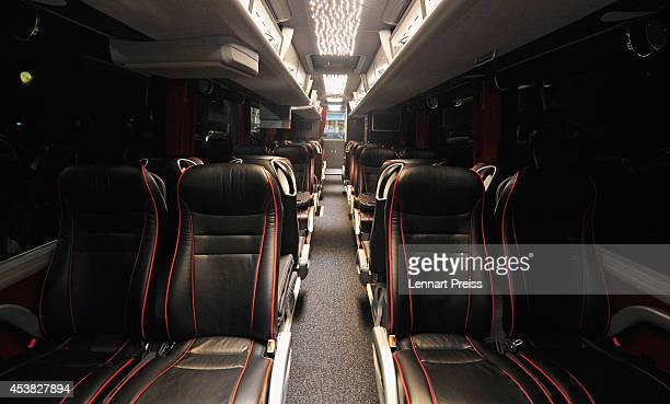 Inside view of the new team bus of FC Bayern Muenchen during it's presentation at Allianz Arena on August 19 2014 in Munich Germany
