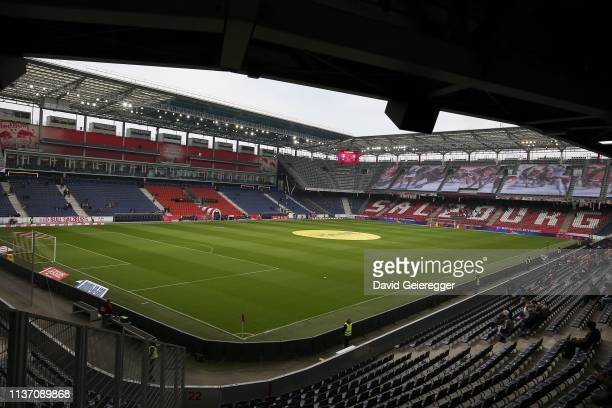Inside view of the Red Bull Arena before the tipico Bundesliga match between RB Salzburg and Sturm Graz at Red Bull Arena on April 14, 2019 in...