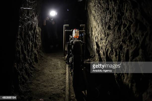 Inside view of the tunnel inside the house where used by Joaquin 'El Chapo' Guzman to escape from the Maximum Security Prison of El Altiplano last...