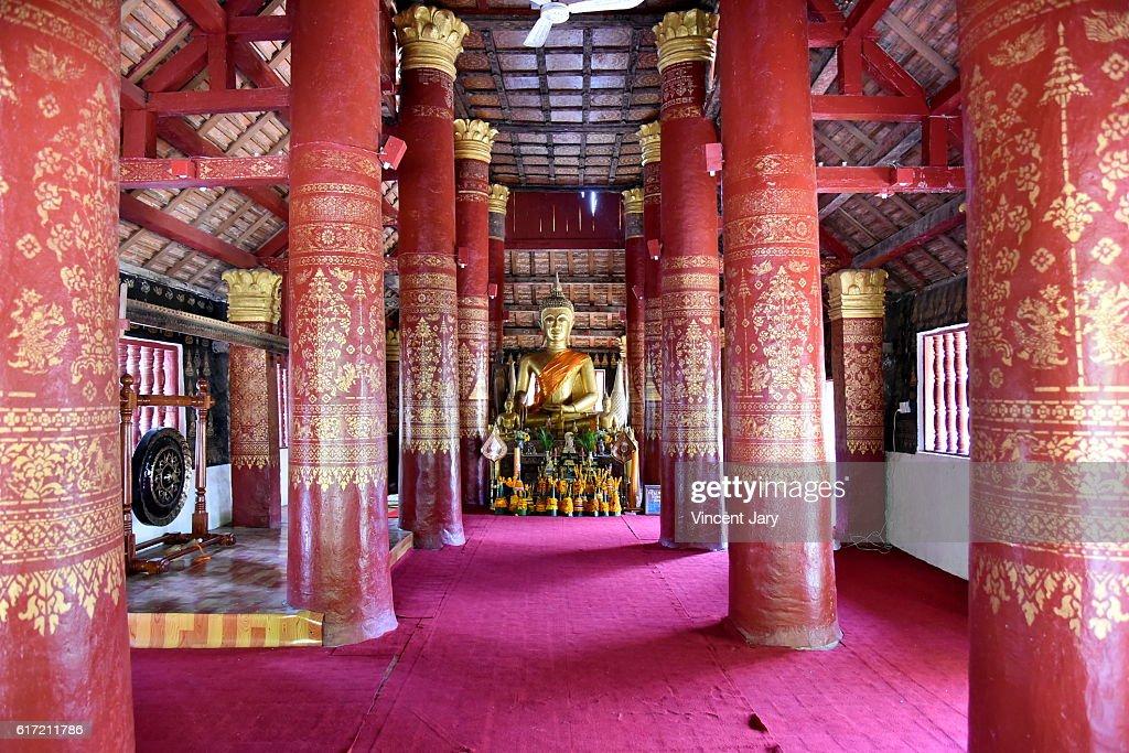 Inside Wat Pak Khan Khammungkhun temple luang prabang Laos Asia : Stock Photo