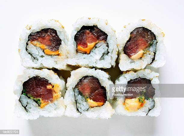 inside-out rolls with tuna - inside out stock pictures, royalty-free photos & images