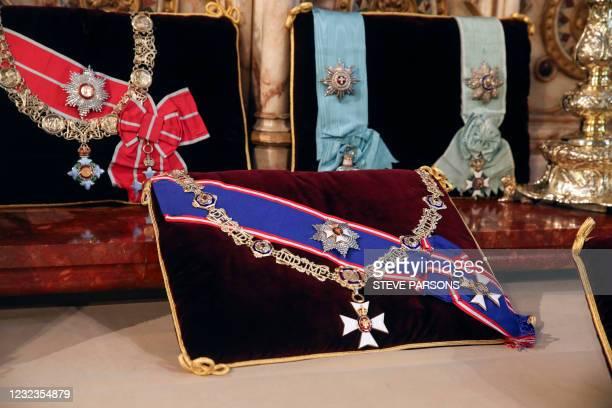 Insignia belonging to Britain's Prince Philip, Duke of Edinburgh, the Royal Victorian Order Collar and Badge, and the Royal Victorian Order Breast...