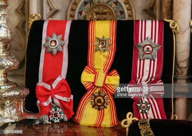 Insignia belonging to Britain's Prince Philip, Duke of Edinburgh, the Brilliant Star of Zanzibar, the Brunei Esteemed Family Order, and the Singapore...