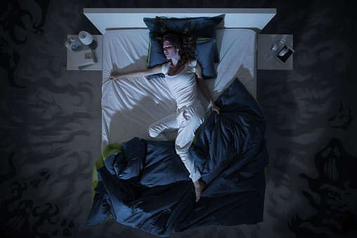 insomnia and nightmare in bed at night 627012648