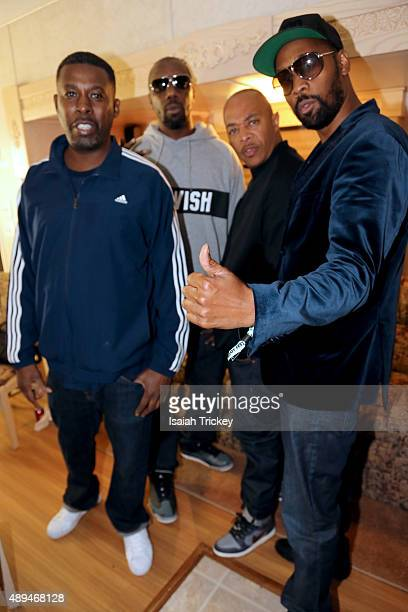 GZA Inspectah Deck UGod and RZA of The WuTang Clan backstage after their Riot Fest 2015 concert at Downsview Park on September 20 2015 in Toronto...