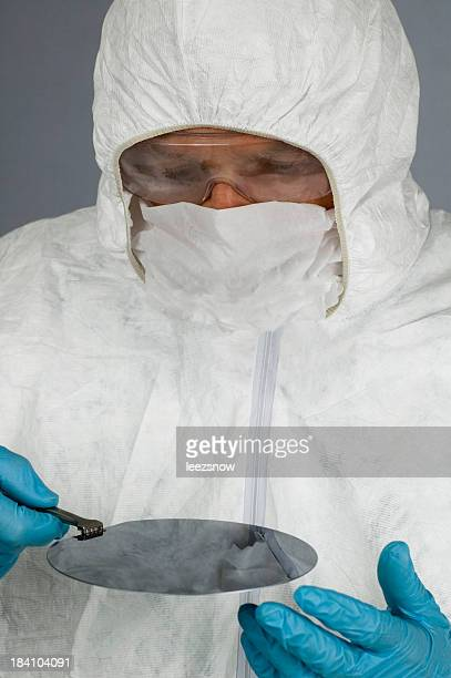 Inspecting a Silicon Wafer Wearing Hazmat Suit