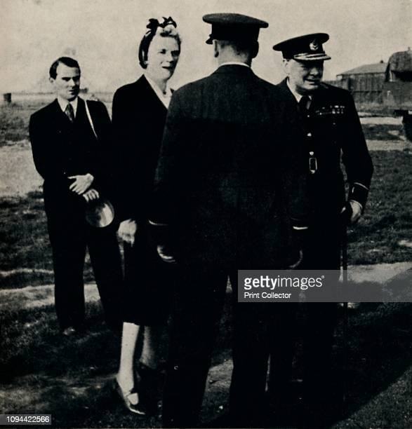 Inspecting R.A.F. Establishment', 1940s, . British Prime Minister Winston Churchill and his wife Clementine visiting RAF 615 Fighter Squadron during...