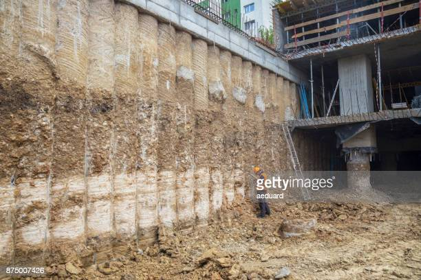 Inspecting secant pile retaining wall