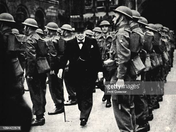 Inspecting The Home Guard' 1940s British Prime Minister Winston Churchill inspects the local defence volunteers during the Second World War Churchill...